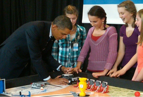 President Obama signs a MindStorms NXT